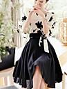 floare rochie midi despicare femei