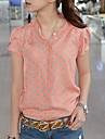 Femei coreeană Stil Orange Polka Dots libere Composite Wire cu maneci scurte Shirt