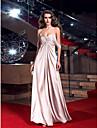 Teacă / coloană dragă podea lungime stretch satin rochie de bal cu cristal de ts couture®