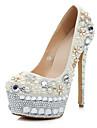 Patent Läder Kvinnors Wedding Stiletto Heel Pumps med Pearl & Rhinestone Skor