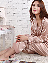 Dame Sateng og silke / Dress Pyjamas - Jacquardvevnad, Rynket