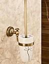 Toalettborsthållare Kan tas bort Antik Mässing Keramisk 1 st - Hotellbad