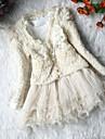 Fete Set Îmbrăcăminte Mată Bumbac Primăvară Toamnă Manșon Lung Dantelă Bej Roz