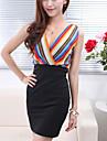 Femei de moda V Neck Multi Color Stripe fără mâneci talie centura Midi Dress