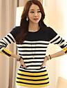 Women's Round Stripe Patchwork Slim Knitwear Sweater