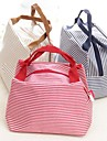 Waterproof Horizontal Stripes Lunch Box Bag Polyester Fiber Color Random