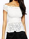 Women's eWhite off-shoulder Lace Peplum Top