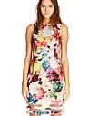 organza imprimeu floral rochie despicare spatele gol