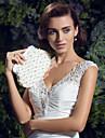 Femei Genți Satin Geantă Seară Imitație de Perle pentru Nuntă Cristal