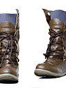 Damă Pantofi Imitație de Piele Primăvară Toamnă Iarnă Toc Plat Cizme Medii Dantelă Pentru Rochie Negru Galben Verde