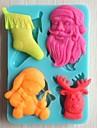 Noel des outils arbre cloche ours cadeau gateau fondant au chocolat silicone moule a cake de decoration, l10.6cm * w7.3cm * h1.1cm