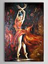 HANDMÅLAD Människor Vertikal Duk Hang målad oljemålning Hem-dekoration En panel