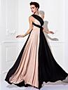 Coloană / Teacă Gât V Lungime Podea Împletit Bal Seară Formală Bal Militar Rochie cu Eșarfă / Panglică Pliuri de TS Couture®