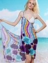 Women's Sexy Wave Print Halter Wrap Beach Cover-Up Dress