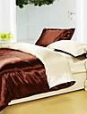 Seturi Duvet Cover Solid 4 Piese Faux Silk Imprimeu reactiv Faux Silk 4pcs (1 Plapumă Duvet, 1 Cearceaf Plat, 2 Shams)