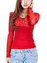 moda v guler legatura cu spate dantela bluza roșie