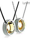 """placat cu aur adevărat lureme®couple """"inel dublu incrustate crytal colier (2 buc)"""