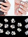 10st 3d ros blomma vit pärla strass DIY tillbehör nagel konst dekoration