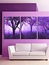 e-home® întins eșuat panza de artă imprimare copaci mov efect flash LED set de 3