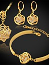 Zirconiu Cubic Zirconiu Zirconiu Cubic Placat Auriu Set bijuterii Include Σκουλαρίκια Coliere Brățară - Zirconiu Zirconiu Cubic Placat cu