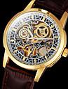 Bărbați Ceas de Mână ceas mecanic Mecanism automat Gravură scobită Piele Bandă Luxos Maro Maro