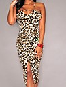 Bodycon Rochie Leopard Cu Bretele Lungime Genunchi