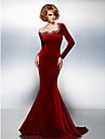 Trompetă / Sirenă Bijuterie Trenă Court Catifea Seară Formală / Gală Elegantă Rochie cu Mărgele Detalii Cristal de TS Couture®