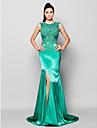 Trompetă / Sirenă Bijuterie Trenă Court Charmeuse Seară Formală Rochie cu Mărgele Aplică Eșarfă / Panglică de TS Couture®