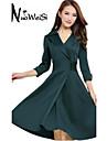 Women's Elegant Lapel Wrap Dress with Buttons