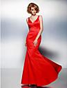 Trompetă / Sirenă În V Lungime Podea Satin Bal / Seară Formală Rochie cu Pliuri de TS Couture®