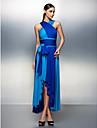 Linia -A Gât V Asimetric Tricot Bal Seară Formală Rochie cu Eșarfă / Panglică Pliuri de TS Couture®
