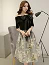 imprimare rochie neagră de femei, de epocă / midi de pe umăr cu maneci scurte arc / mesh fusta