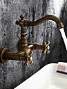 Antichizat Art Deco/Retro Tradițional Vană Romană Împrăștiat Valvă de Alamă Două găuri Două mânere două găuri Alamă Antichizată ,