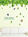 perete autocolante de perete stil decals frunze verzi și autocolante de perete pvc pur și proaspete