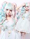 Perruques de Deguisement / Perruque Synthetique Ondule Coupe Asymetrique Ligne de Cheveux Naturelle Bleu Femme Sans bonnet Perruque de