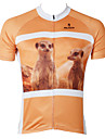 ILPALADINO Homme Manches Courtes Maillot de Cyclisme - Orange Animal Velo Maillot, Sechage rapide, Resistant aux ultraviolets Polyester
