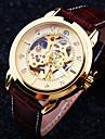 Bărbați Mecanism automat ceas mecanic Ceas de Mână Rezistent la Apă Gravură scobită Piele Bandă Lux Maro