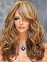 Femme Perruque Synthetique Mi Longue Ondule Marron Meches Colorees / Balayees Partie laterale Avec Frange Perruque Naturelle Perruque