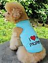 고양이 강아지 티셔츠 강아지 의류 심장 문자와 숫자 오렌지 그레이 블루 핑크 면 코스츔 애완 동물 코스프레 웨딩