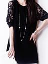 Damen Anspruchsvoll Etuikleid Kleid - Spitze, Solide UEbers Knie