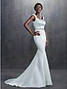 Trompetă / Sirenă Pătrat Trenă Court Satin Made-To-Measure rochii de mireasa cu Mărgele / Eșarfă / Panglică de LAN TING BRIDE®