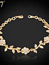 Pentru femei Diamant sintetic Brățară - Ștras, Diamante Artificiale Floare Charm, Vintage, Petrecere Brățări Auriu / Argintiu Pentru Zilnic