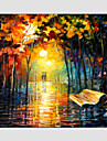 Pictat manual Peisaje Abstracte Modern / Stil European Un Panou Canava Hang-pictate pictură în ulei For Pagina de decorare