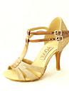 Damă Latin Salsa Imitație de Piele Sandale Înăuntru Antrenament Începător Cataramă Toc Personalizat Negru Roșu Argintiu Albastru Auriu