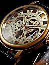 WINNER Bărbați Ceas de Mână ceas mecanic Mecanism manual Gravură scobită PU Bandă Luxos Negru