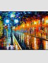 HANDMÅLAD Abstrakta landskap Horisontell,Moderna Europeisk Stil En panel Hang målad oljemålning For Hem-dekoration