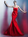 Trompetă / Sirenă In Formă de Inimă Lungime Podea Satin Seară Formală Rochie cu Arc Drapat Părți de TS Couture®