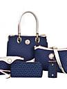 Femei Genți Toate Sezoanele PU Geantă Umăr Tote Seturi de sac Set de pungi 5 buc pentru Cumpărături Casual Oficial Alb Maro Albastru Roz