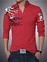 Bărbați Polo Casul/Zilnic Plus Size Imprimeu Manșon Lung Bumbac Spandex