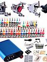 Tattoo Machine Professionell Tattoo Kit 4 x stål tatueringsmaskin för linjer och skuggning Hög kvalitet Mini strömförsörjning 2 x